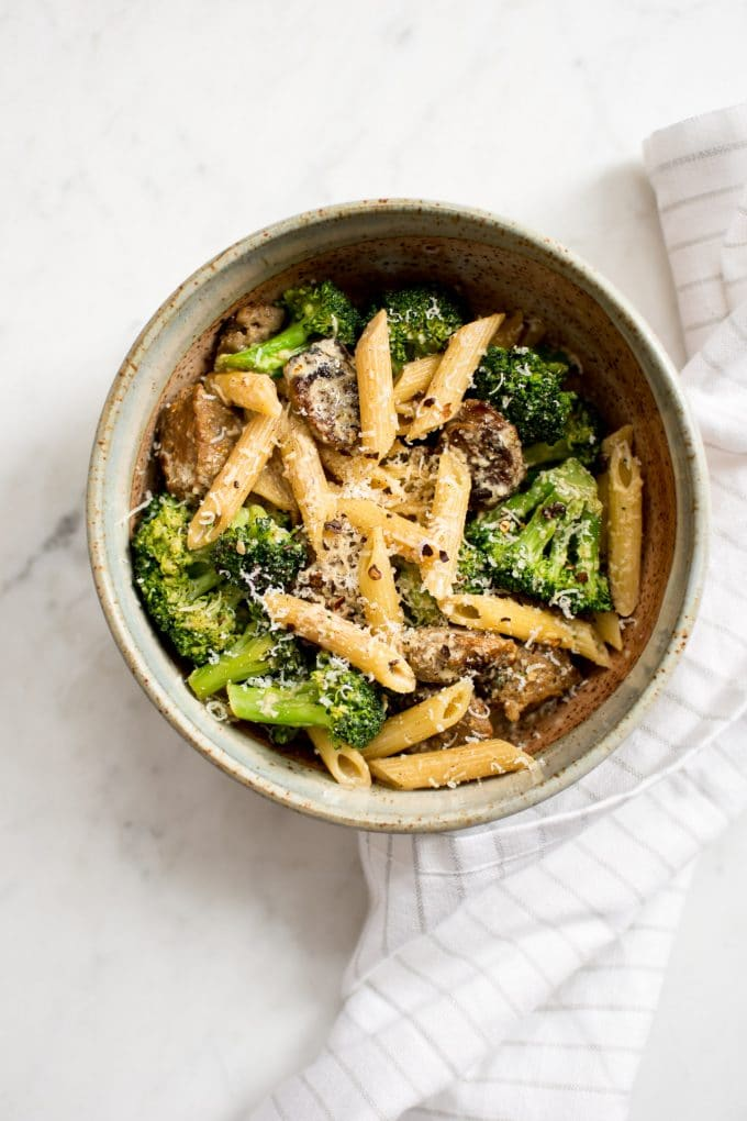 This creamy Italian sausage and broccoli pasta is easy and fast! You can use spicy sausage and chili flakes if you want more kick in this delicious weeknight pasta recipe. Half-and-half makes this recipe more healthy than using heavy cream.