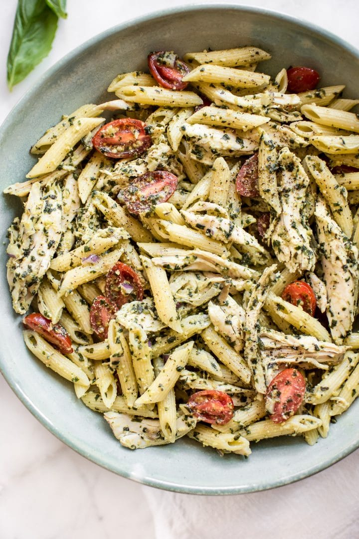 This Healthy Cold Pesto Pasta Salad With Chicken Is Simple To Make And Bursting The