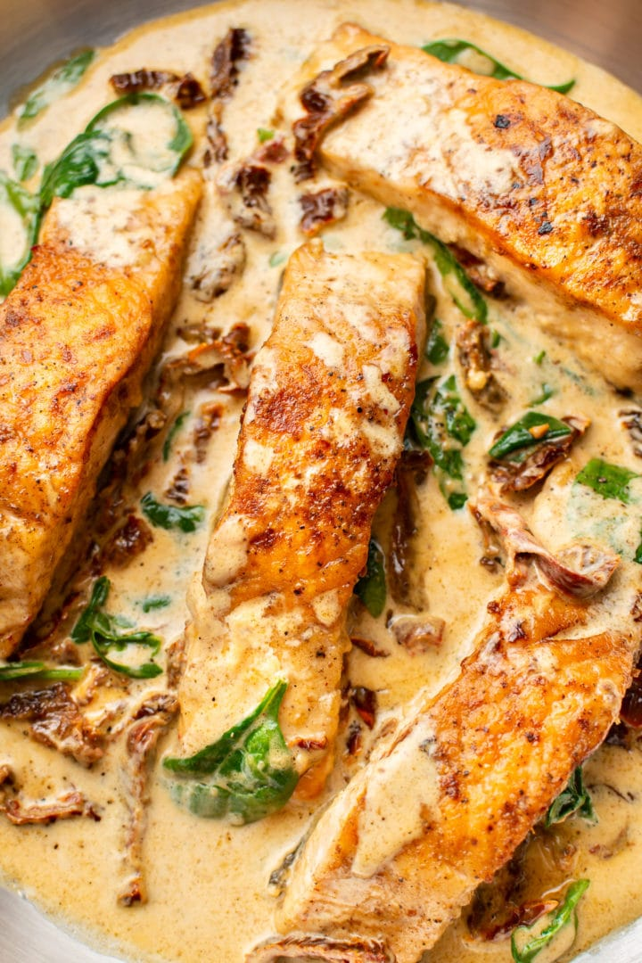 creamy Tuscan garlic salmon close-up