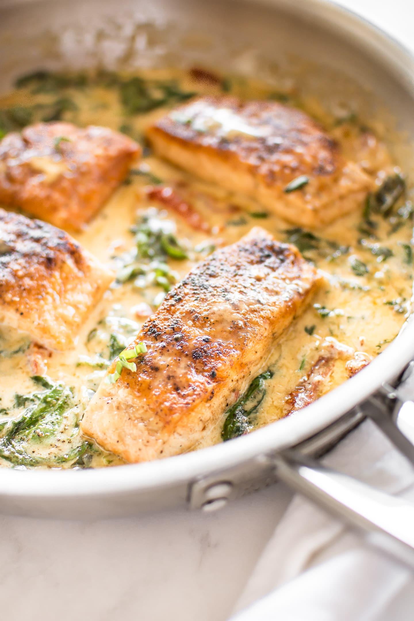 salmon recipe tuscan creamy sauce recipes dinner fish spinach tomato pan garlic pasta seared sun chicken cream food go rice