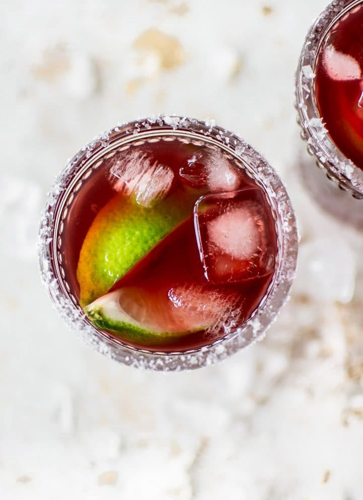 This pomegranate margarita recipe is easy, fresh, fast, and simple. Perfect for Cinco de Mayo or summer sipping! It uses pomegranate juice so no extra effort is required!