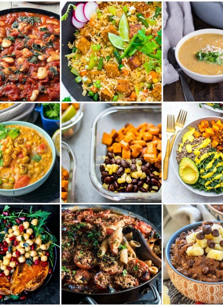 Easy, healthy, and delicious vegan meal prep recipes for the week - this roundup has 30 plant-based ideas for make-ahead lunches, dinners, and snacks. You'll find everything from high protein to low-carb, slow cooker, no cook, and more.