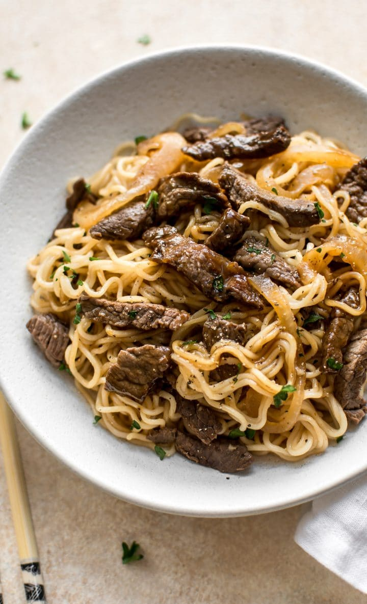 This easy Asian stove top beef and noodles recipe is quick and simple. You will love this homemade version over take-out!