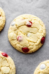 Easy and delicious Canada Day cookies made with cake mix and red and white M&Ms!