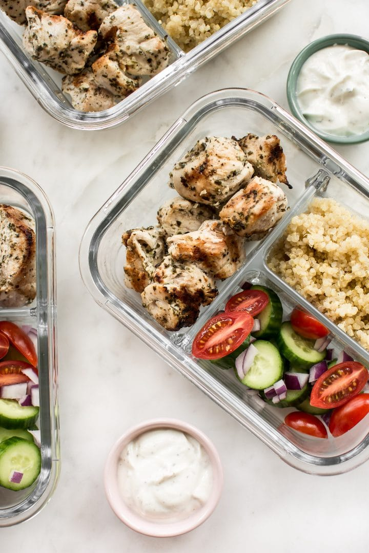 Greek Chicken Souvlaki Meal Prep Bowls Salt Lavender