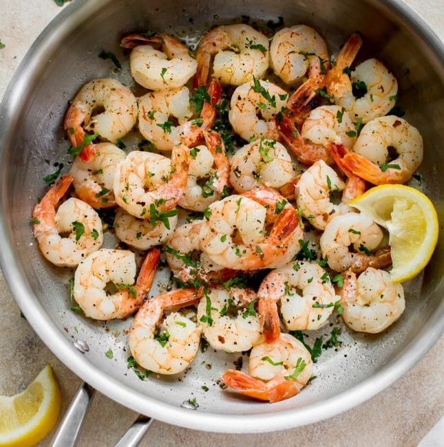 Plump, juicy shrimp sautéed in a browned butter lemon garlic sauce - the perfect easy dinner recipe! Fast, healthy, low-carb, and delicious.