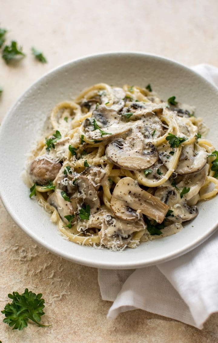 This perfectly creamy white wine mushroom pasta dish makes the most delicious vegetarian dinner! It's simple to make and ready in half an hour.