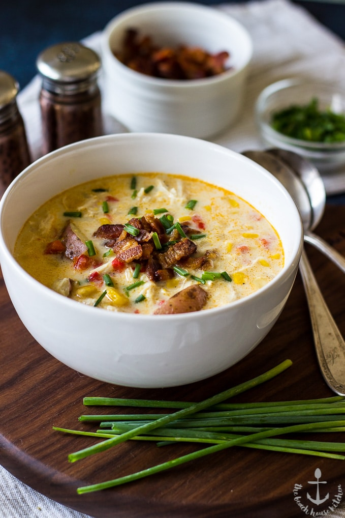 10 easy leftover chicken recipes roundup: chicken corn chowder with bacon