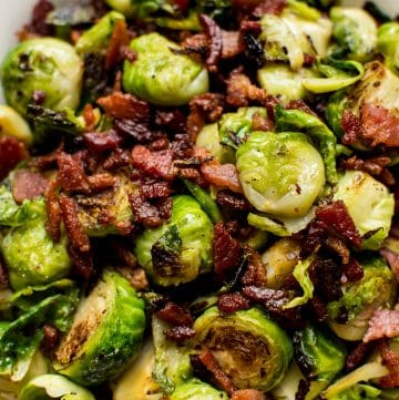 These bacon Brussels sprouts are an incredibly easy fall or winter side dish recipe with only two ingredients! Simple, quick, and delicious.