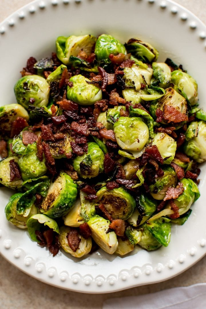 Brussels sprouts and bacon are a delicious low-carb skillet side dish. That crispy bacon is irresistible!  A great side dish for turkey, chicken, or any roast.