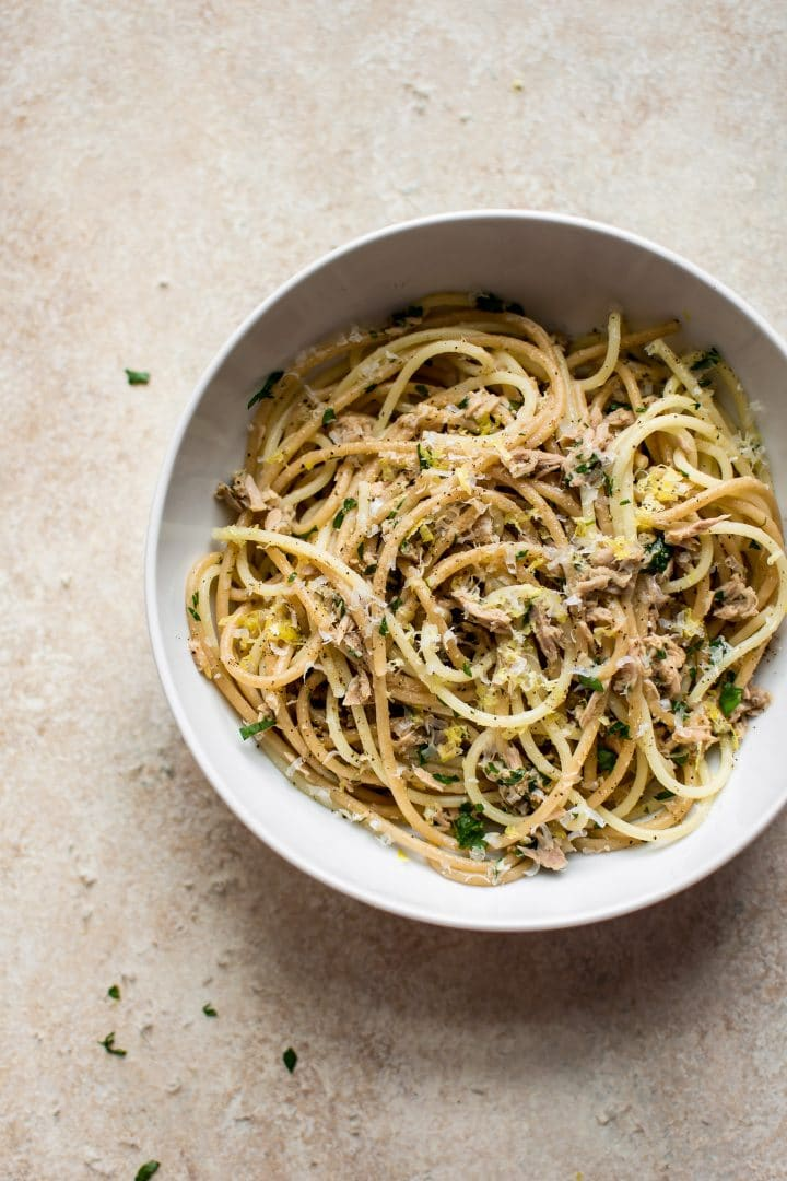 This easy canned tuna pasta recipe is the perfect simple dairy-free dinner when you're short on time and ingredients. Garlic and lemon make this a deliciously comforting weeknight dinner!