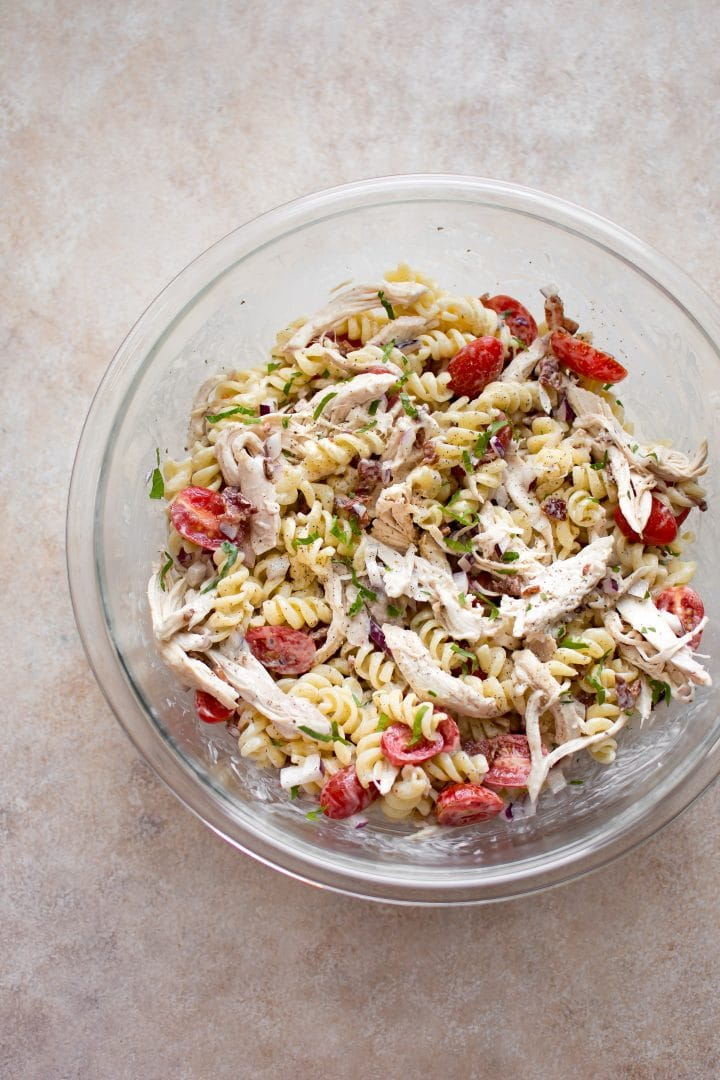 Prepping a yummy chicken bacon ranch pasta salad - the best summer side dish!