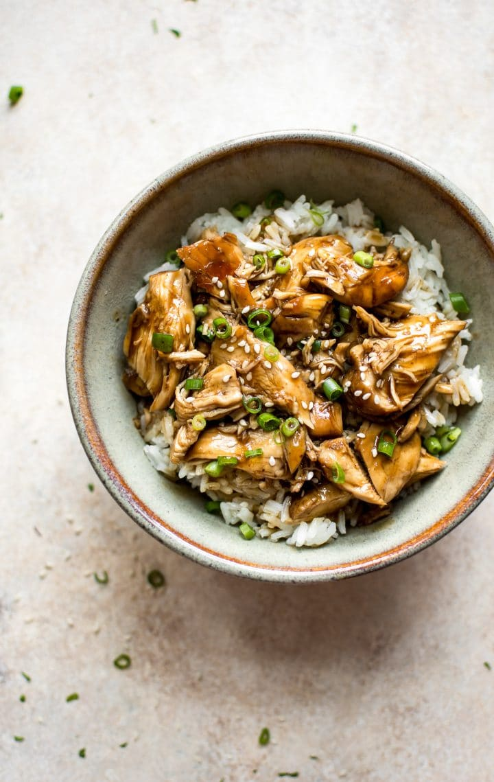 This electric pressure cooker teriyaki chicken recipe is fast, simple, and has the best sauce. Great with rice and chopped spring onions!