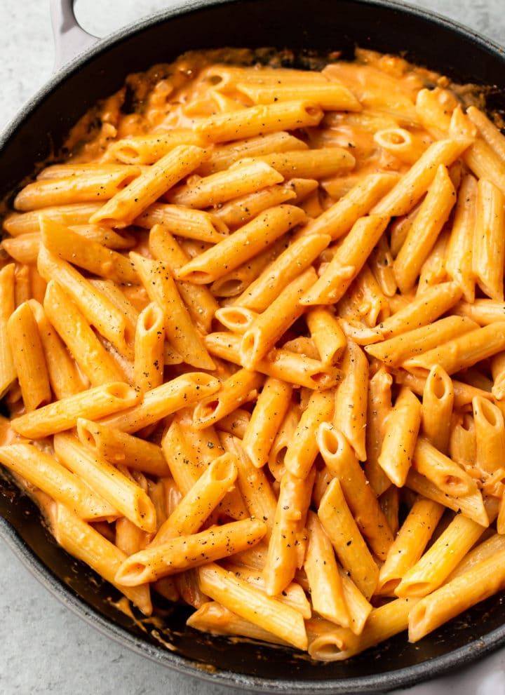 close-up of penne alla vodka in a skillet