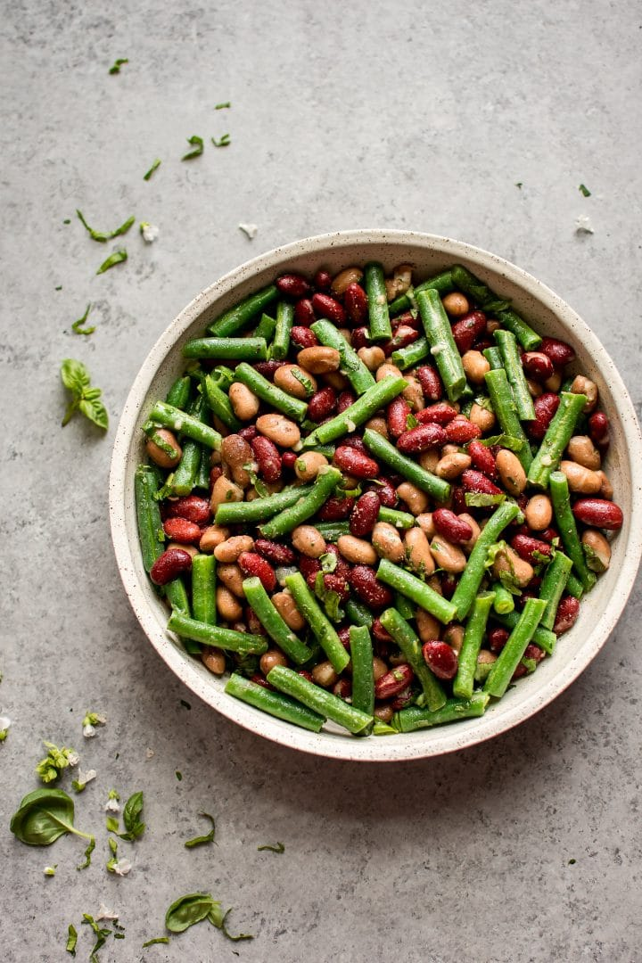 easy and healthy three bean salad in a large bowl