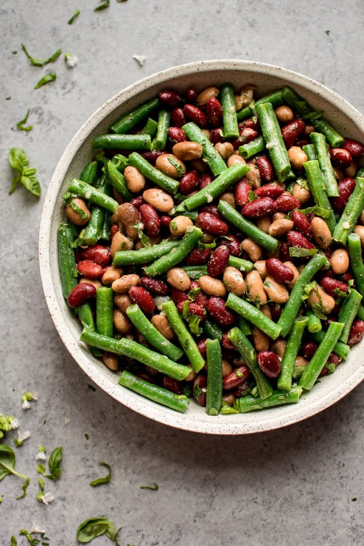 easy and healthy three bean salad with light vinaigrette in a bowl