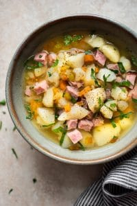 This easy Crockpot ham and potato soup is a delicious healthy and dairy free soup that's made with simple ingredients in the slow cooker.