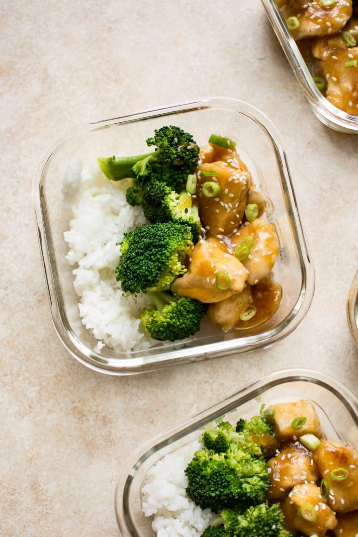 Sweet and sticky honey ginger sauce coats tender chicken breast in this easy chicken meal prep recipe. Your family will love them!