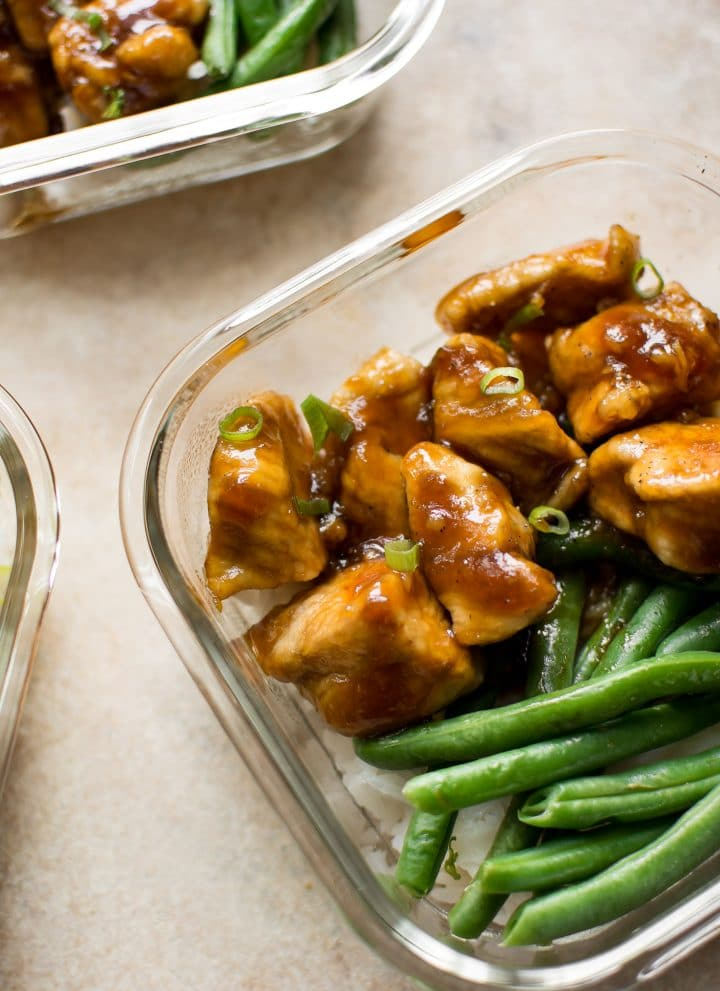 Homemade Mongolian chicken has the most tasty and addictive sauce! This meal prep recipe is easy for beginners to make, and customizable - you can swap out the rice and green beans with other sides if you wish.