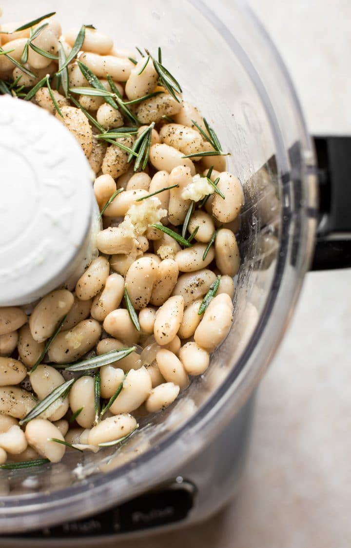 Rosemary and white bean dip prep - the silkiest cannellini bean dip!