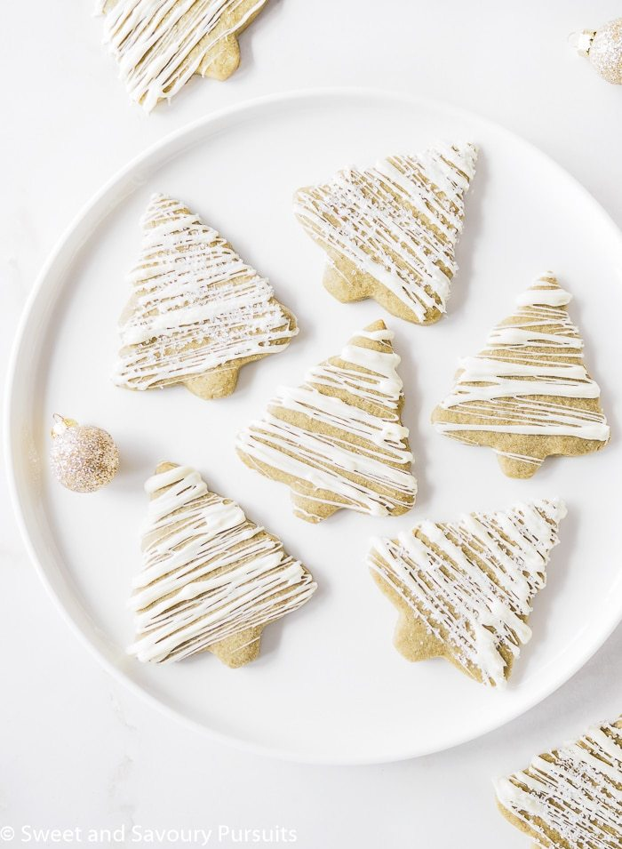 christmas tree shaped matcha green tea sugar cookies on a plate