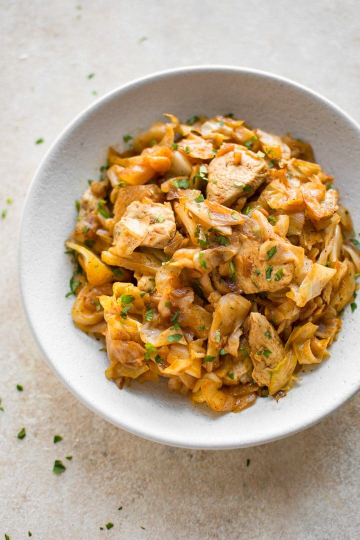 This chicken and cabbage recipe is quick, tasty, and low carb. Garlic, paprika, butter, onions, and other delicious everyday ingredients come together to transform cabbage into something amazing.