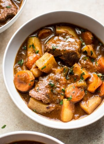 The best healthy, quick, and easy beef stew recipe made right in the Instant Pot! You will love this classic family recipe that has the perfect seasoning and tender meat, potatoes, and vegetables.