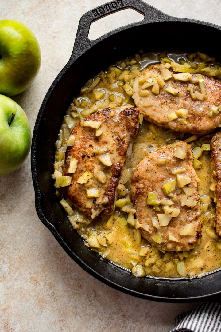 Pork chops and apples make the best combination. This easy family dinner is perfect for fall weeknights. It's fast and you'll love the sauce with Granny Smith apples and butter!
