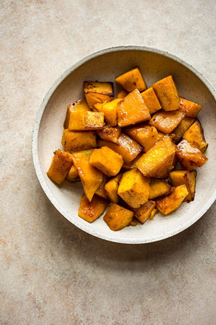 Honey roasted butternut squash is an easy to make side dish that's perfect for fall, winter, and the holidays! Ready in about 30 minutes, this recipe is a crowd pleaser!