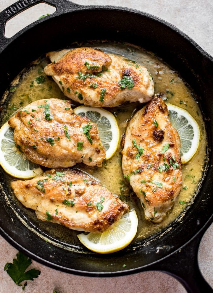 This lemon butter chicken recipe is quick, easy, and totally delicious. This recipe has a wonderfully tangy savory sauce and melt-in-your-mouth chicken breast.