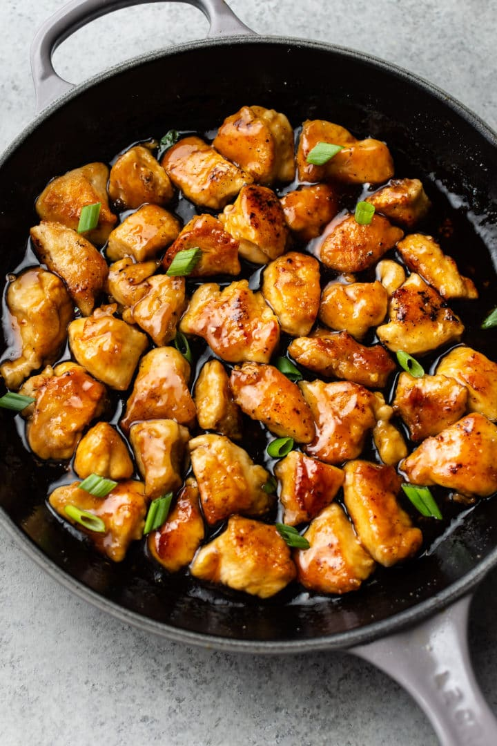 teriyaki chicken in a cast iron skillet