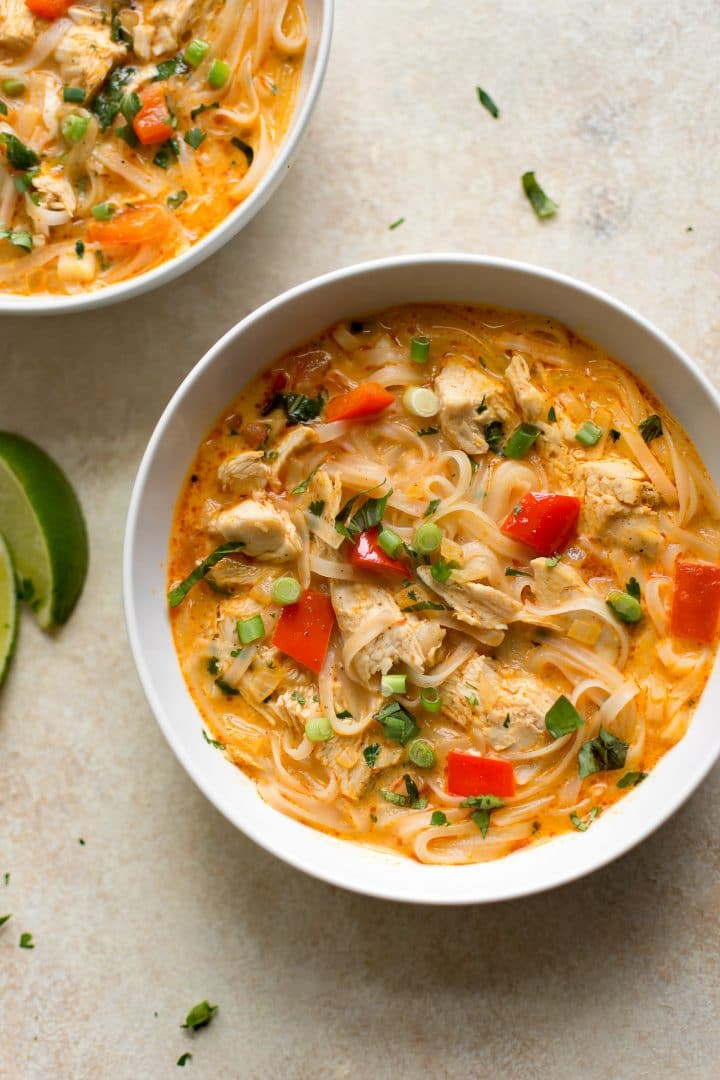 Turkey leftovers don't have to be boring! This creamy Thai turkey soup is cozy, delicious, and ready in 30 minutes.