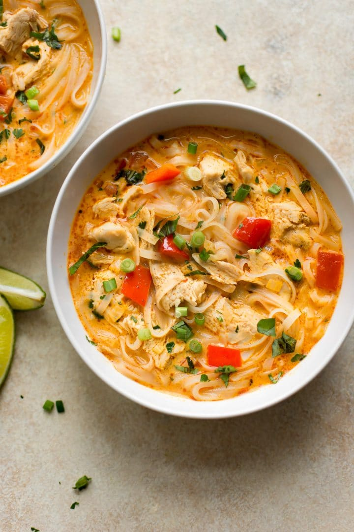 This easy Thai turkey soup is made from Thanksgiving leftovers and has the most delicious coconut milk broth and rice noodles.