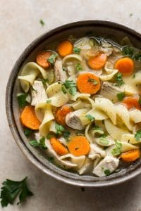 Quick and easy turkey noodle soup made from leftover turkey! The broth is super flavorful, healthy, and delicious.