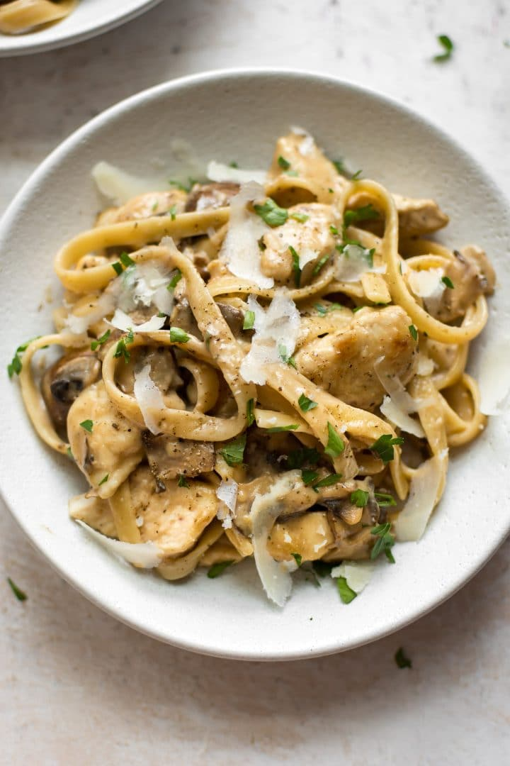 You'll adore this easy twist on the classic chicken marsala recipe - tender chicken pieces are coated in the creamy sauce that you love and tossed with mushrooms and pasta.