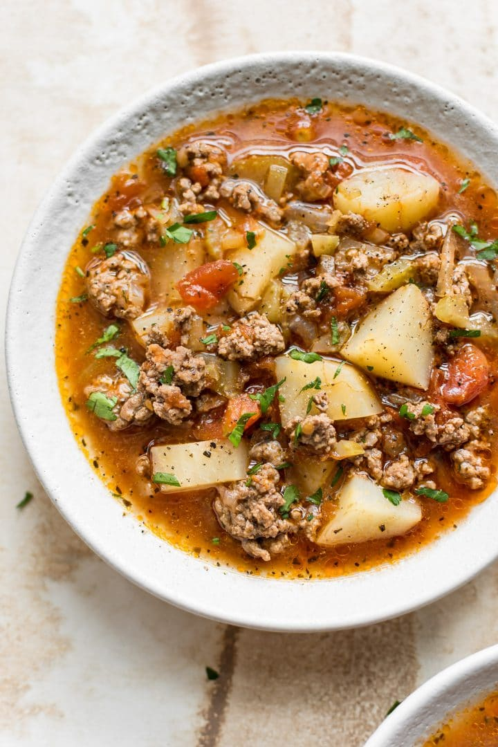 This Instant Pot hamburger soup is hearty, comforting, and fairly healthy. It's sure to become a family favorite! Very easy to make.