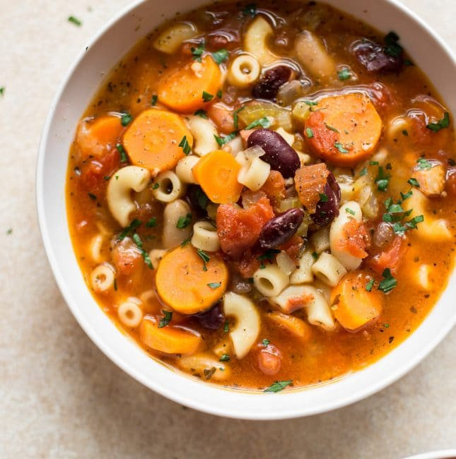 The classic Italian pasta and bean soup (pasta e fagioli) is quick and easy in the Instant Pot!