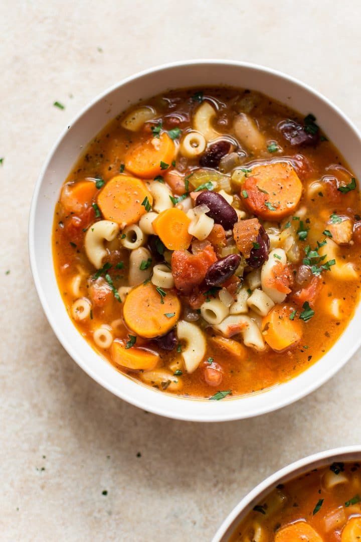 close-up of Instant Pot classic Italian pasta and bean soup (pasta e fagioli) in a white bowl