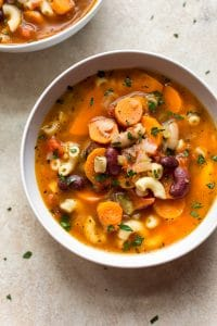 Pasta e fagioli soup is easy to make in your Instant Pot! Pasta, beans, veggies, and pancetta make one cozy and flavorful soup that the whole family will love.