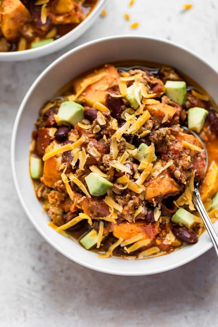 This turkey sweet potato chili is fast, easy, and healthy. Make it as spicy as you wish, and top it with your favorites.