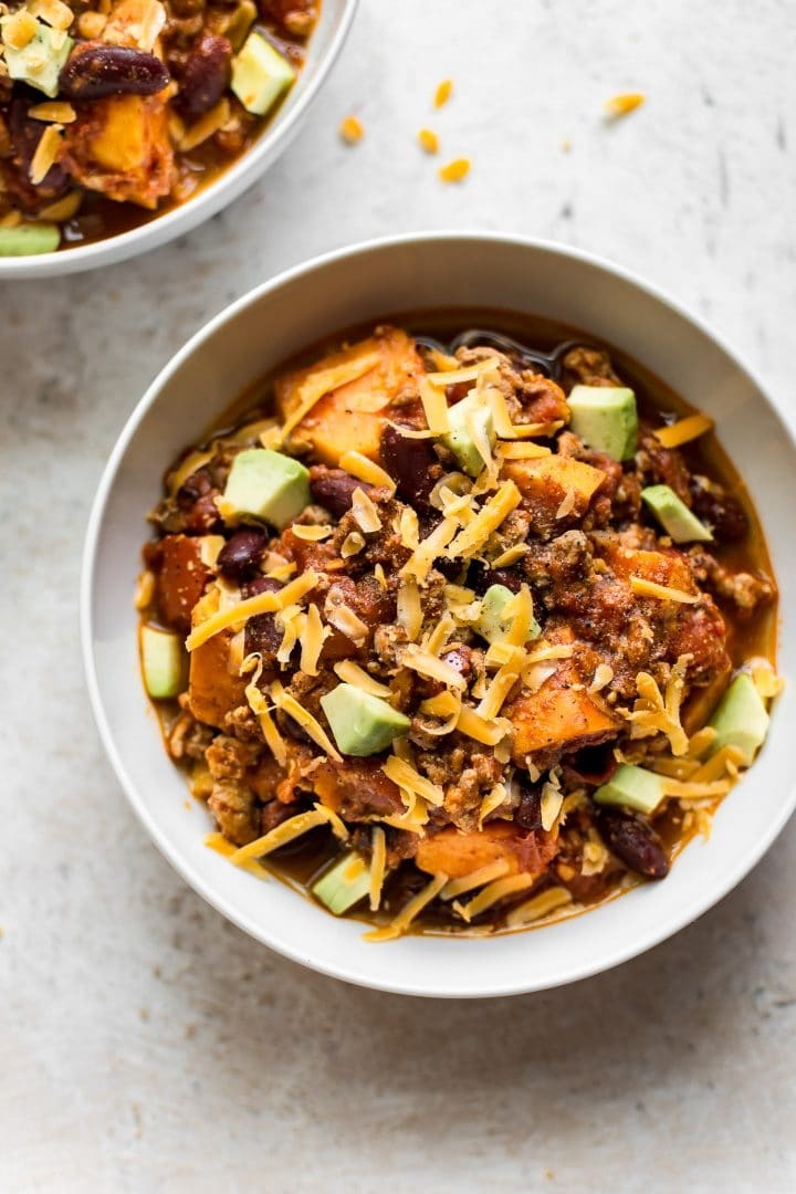 This healthy sweet potato ground turkey chili recipe is fast, easy, and delicious. Customize it with your favorite toppings!