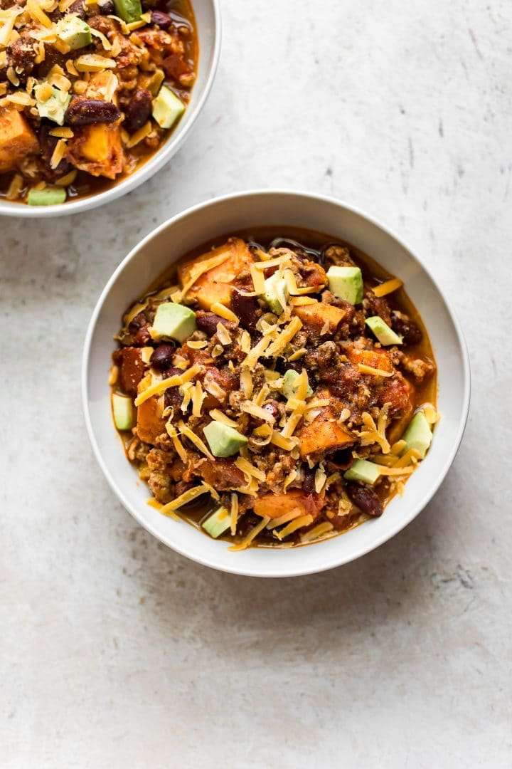 This turkey sweet potato chili is comforting and delicious. A healthy dinner option that you can feel good about enjoying with your family!