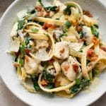 This easy chicken bacon spinach pasta is weeknight dinner perfection! It'll be a new family favorite.