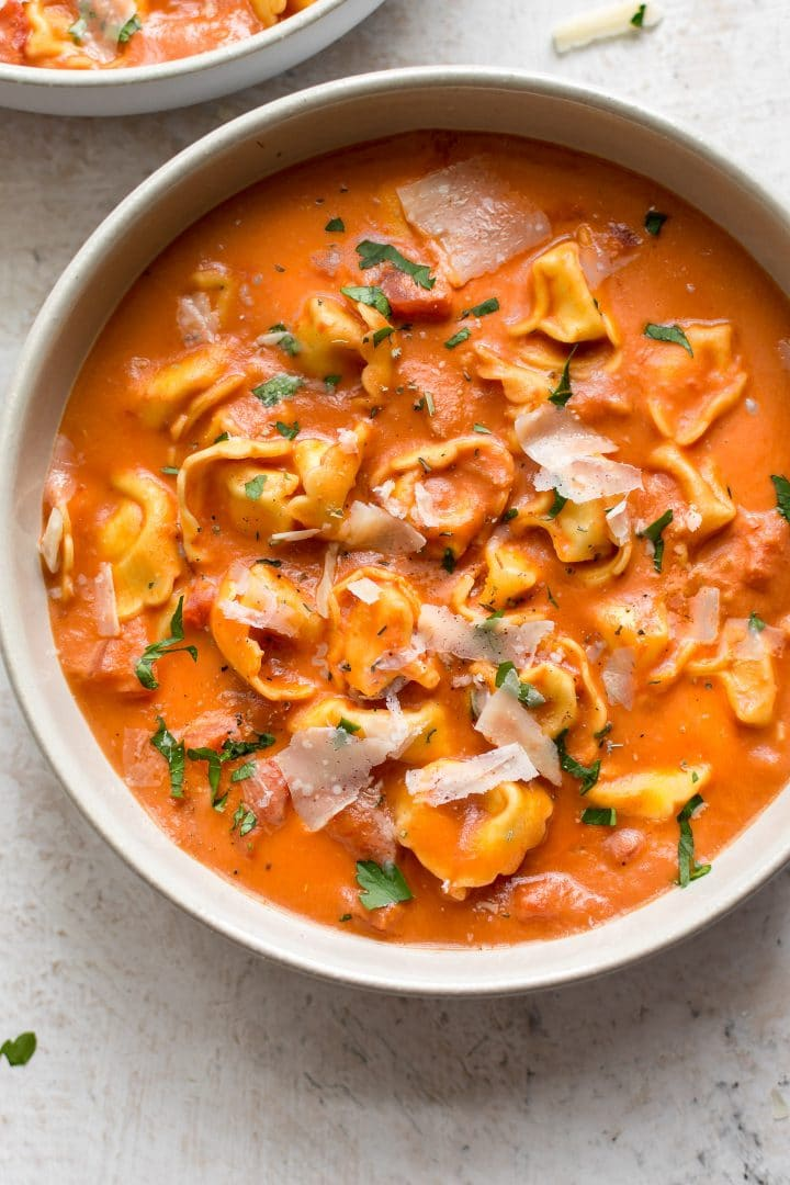 If you love tomato soup, this will be a new favorite! Cheese tortellini and cream make this easy tomato soup stand out from the rest.