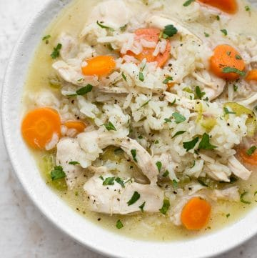 This easy chicken and rice soup makes the best family meal! It's quick, simple, and healthy.