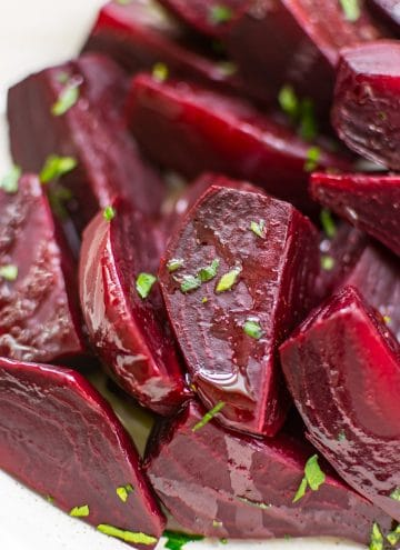 These Instant Pot beets are easy, healthy, and delicious! It's so easy to make beets in the electric pressure cooker. Let me show you how!