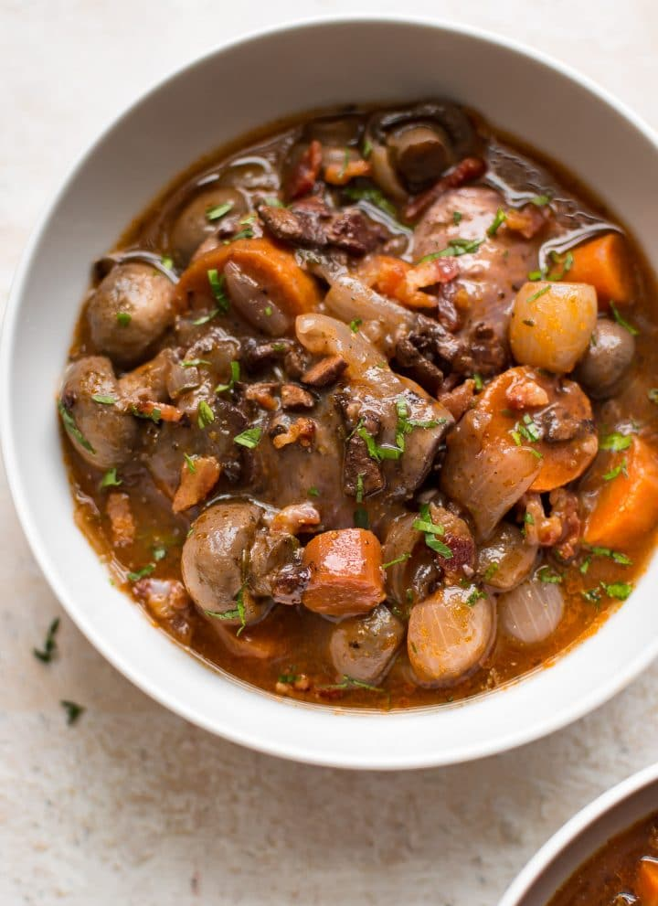 This easy Instant Pot Coq au Vin recipe is much easier to make than the classic recipe! You can have all the delicious flavor with less work.