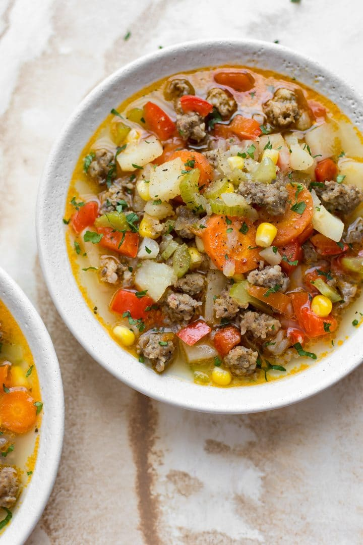 This Italian sausage and vegetable soup is simple to make and gives you the most delicious leftovers!