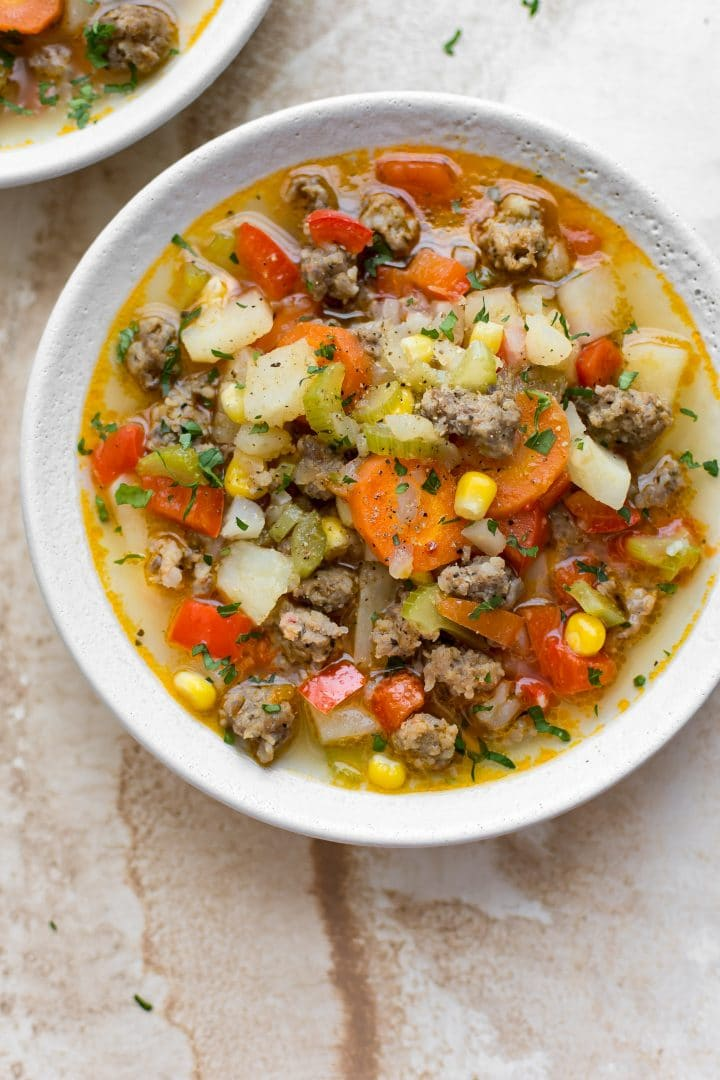 This easy sausage soup recipe is loaded with plenty of vegetables, Italian sausage, and potatoes. It's healthy and comforting.