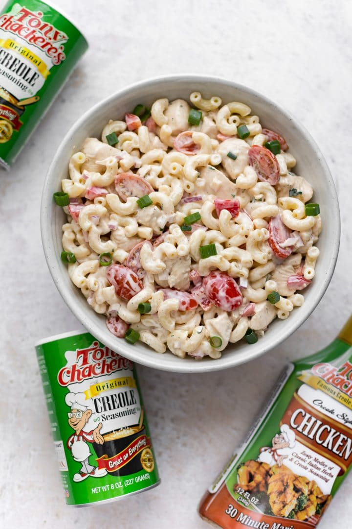 A bowl of delicious Cajun macaroni salad made with Tony Chachere's Original Creole Seasoning and Tony's 30 Minute Chicken Marinade.